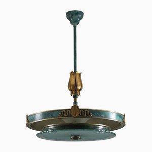 Lámpara colgante sueca de latón patinado y vidrio, años 30