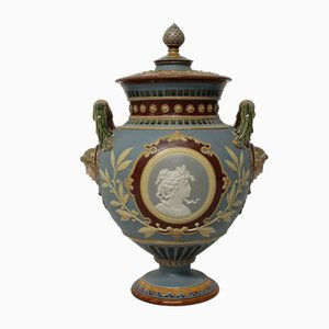 German Neo-Classical Majolica Tazza, 1890s