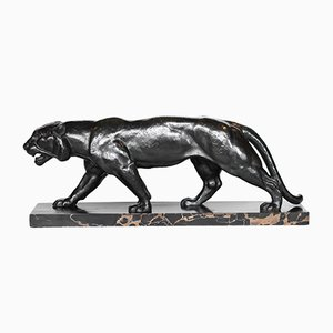 Art Deco Tiger-Skulptur aus Bronze von Henri Bargas, 1930er