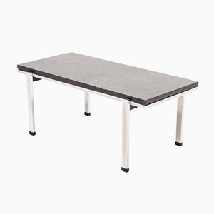 Mid-Century Grey Limestone & Chrome Coffee Table, 1960s