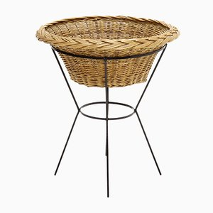 Mid-Century Rattan and Metal Magazine Basket, 1960s