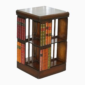 Vintage Mahogany Swivel Bookcase with Faux Books