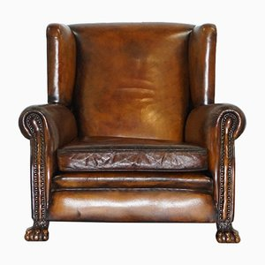 Leather Wingback Armchair, 1860s
