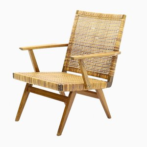 Mid-Century Teak and Cane Armchair, 1950s