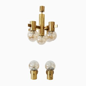 Chandelier & 2 Wall Lamps Set by Hans-Agne Jakobsson for Markaryd, 1960s