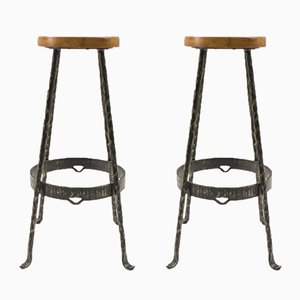 Mid-Century Iron and Wood Bar Stools, 1960s, Set of 2
