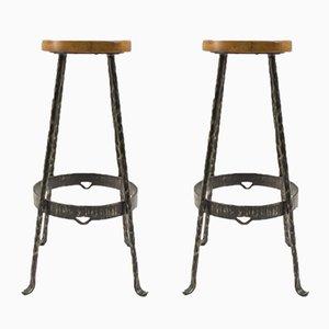 Taburetes de bar Mid-Century de hierro y madera, años 60. Juego de 2