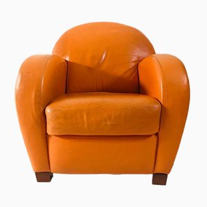 Vintage Orange Leather Armchair from Bruma