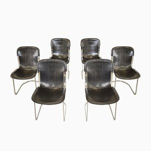Vintage Leather Dining Chairs by Willy Rizzo for Cidue, 1970s, Set of 6
