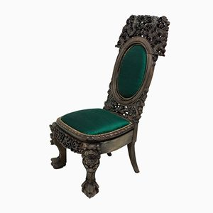 19th Century Chinese Emerald Silk Chair, 1880s