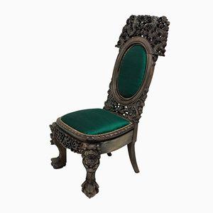 Chinesischer Stuhl mit smaragdgrünem Seidenbezug, 1880er