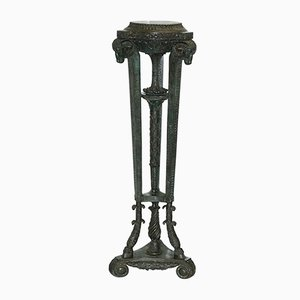 Antique Bronze Ram's Head Stand