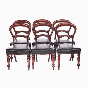 Antique Victorian Mahogany Balloon Back Chairs, 1880s, Set of 6