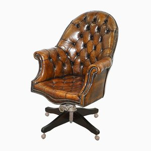 Brown Leather Chesterfield Armchair, 1920s