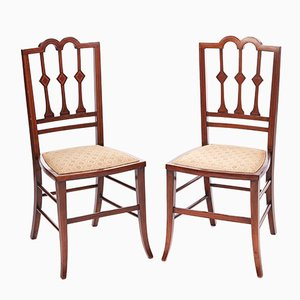 Edwardian Mahogany Inlaid Side Chairs, 1910s, Set of 2