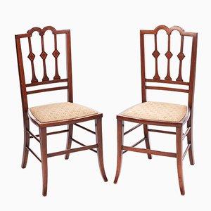 Edwardianische Beistellstühle aus Mahagoni mit Intarsien, 1910er, 2er Set