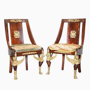 Antike französische Schlittenstühle aus Mahagoni, 1852, 2er Set