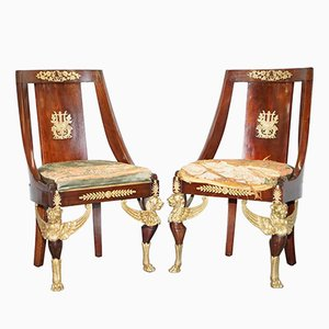Antique French Sleigh Mahogany Chairs, 1852, Set of 2