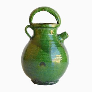 Glazed Green Wine Pitcher from Faïencerie d'Aubagne, 1900s