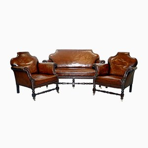 Small Victorian Leather Set with Club Sofa & 2 Armchairs
