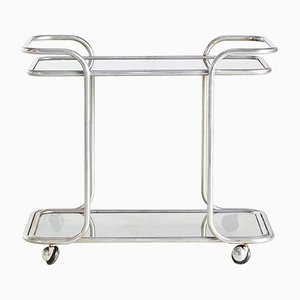 Vintage Chrome Framed Smoked Glass Trolley, 1970s