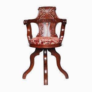 Sedia HMHS antica in legno di mogano intagliato, Regno Unito