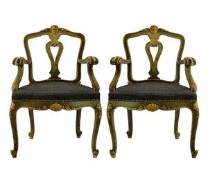 Antike venezianische Armlehnstühle, 1800er, 2er Set