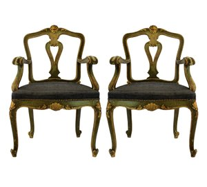 Antique Venetian Armchairs, 1800s, Set of 2