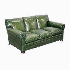Grünes antikes viktorianisches Ledersofa von Maple & Co
