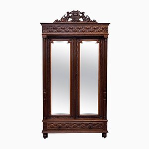 Antique French Hand-Carved Wooden Armoire
