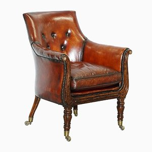 Antique Regency Leather Armchair