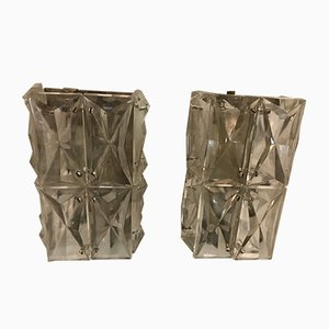 Mid-Century Crystal Sconces, Set of 2
