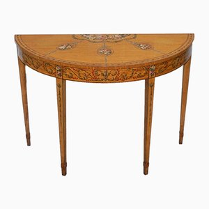 Antique Satinwood Sheraton Revival Demi Lune Console Table