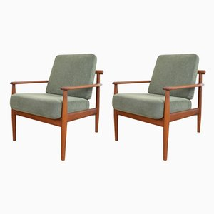 Mid-Century Danish Teak Lounge Chairs by Arne Vodder, 1960s, Set of 2