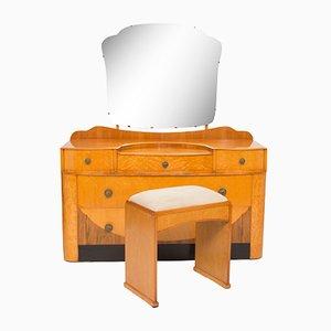Toeletta Art Déco con sgabello, anni '30