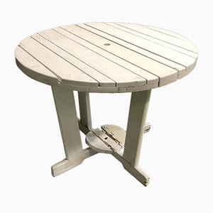 Mid-Century French White Collapsible Wood Garden Table, 1950s