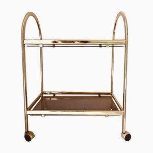 Vintage Golden Aluminum & Smoked Glass Drinks Trolley