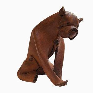Scultura di cane Origami Mid-Century in pelle di DERU