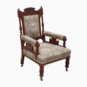Antique Victorian Carved Oak Armchair