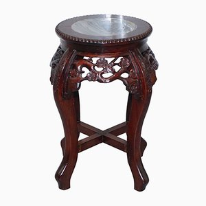 Chinese Hongmu Floral Tree Carved Plant Stand, 1920s