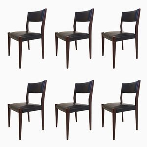 Scandinavian Rosewood & Leatherette Chairs, 1960s, Set of 6
