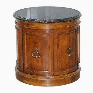 Antiker Trommeltisch aus Mahagoni & Marmor im Regency-Stil