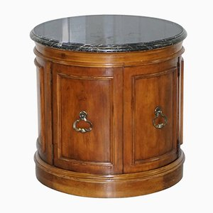 Antique Regency Style Mahogany & Marble Drum Table