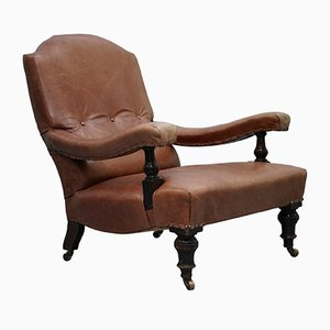 Edwardian Brown Leather Armchair, 1900s