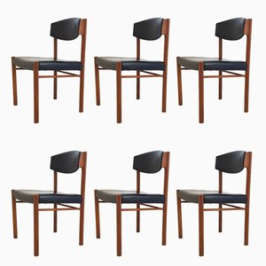 Scandinavian Teak & Leatherette Dining Chairs, 1960s, Set of 6