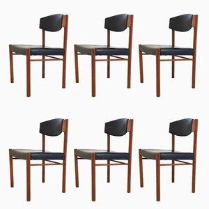 Skandinavische Esszimmerstühle mit Gestell aus Teak & Sitz aus Kunstleder, 1960er, 6er Set