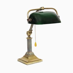 Vintage English Brass & Green Glass Desk Lamp, 1950s