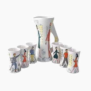 Ceramic Juice Set with Jug & 7 Cups from Rometti, 1950s