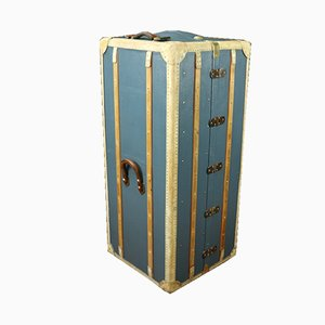 Baule armadio in ottone, tela e mogano, anni '20