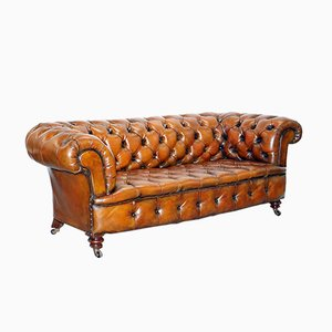 Viktorianisches Chesterfield Ledersofa von Cornelius V. Smith, 1890er